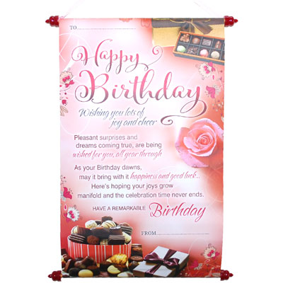 Click here for more on Happy Birthday Message Scroll -Code 01-001