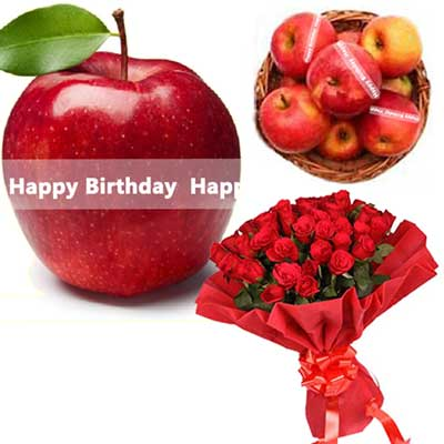 Click here for more on Talking Apples with Birthday Message, Red Roses Bunch