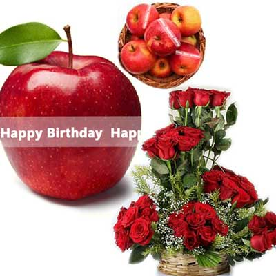 Click here for more on Talking Apples with Birthday Message, Red Roses Basket
