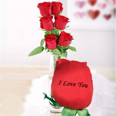 Talking Roses Print On Rose 6 Red I Love You