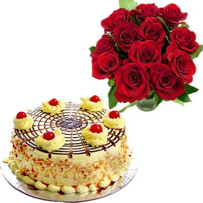 Click here for more on Delicious round shape butterscotch cake - half kg, 12 Red roses