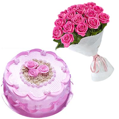 Click here for more on Delicious round shape Strawberry cake - half kg, 12 Pink roses