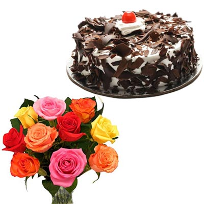 Click here for more on Delicious round shape Chocolate cake - half kg, 12 Mixed roses
