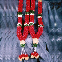 Red rose petal Garlands ( 2 Garlands)