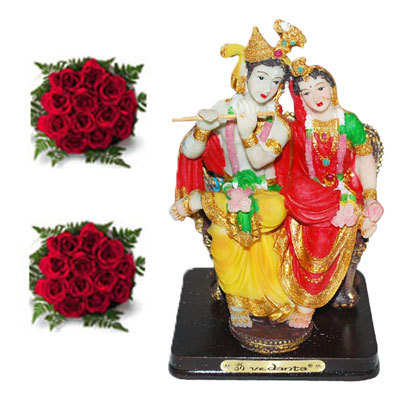 Click here for more on Radha krishna Idol in sitting position, Flower Bunches (2no.)