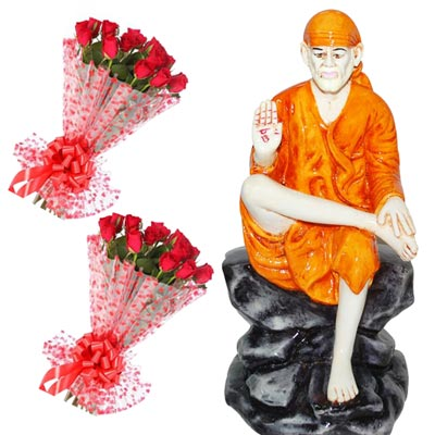 Click here for more on 15 Red roses flower bunches -2 pieces. + Saibaba-901-6