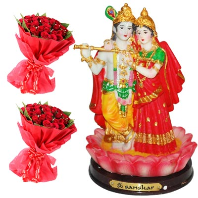 Click here for more on 20 red roses flower bunches -2 pieces.+ Radha Krishna-8 Inches -12