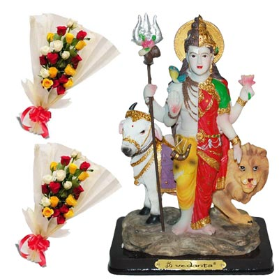 Click here for more on 20 mixed roses flower bunches - 2 pieces.+ Shiv Parvathi - code 99463