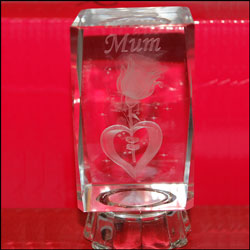 Click here for more on Crystal Message Stand to Mum