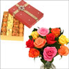 Click here for more on 12 mixed roses in a vase + 500gms of assorted sweets(11th Evening)