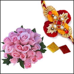Designer Rakhi (single Rakhi) + Pink Roses Bunch