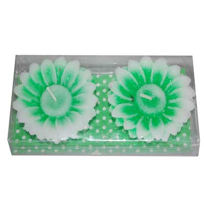 Click here for more on Flower Design Floating Candles - 2 pcs set -Green shade-010