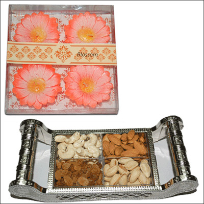 Click here for more on Diwali Floating Candles N Dryfruit Box - DFB401