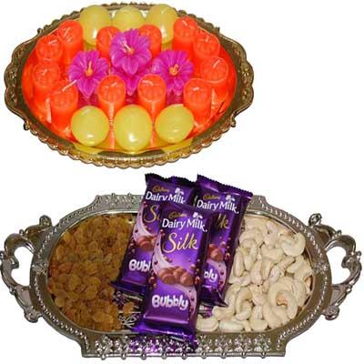 Diwali Dry Fruits N Diyas - code DT13