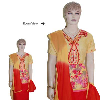 Click here for more on Red And Yellow color Designer Semi Stitched Dress Material - JBT-12