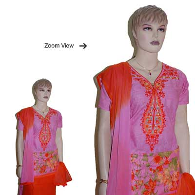 Click here for more on Pink and Red color Designer Semi Stitched Dress Material - JBT-13