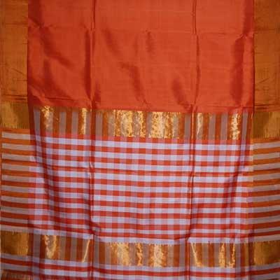 View More(Orange Color Plain Uppada pattu saree SCV-35 (with blouse)