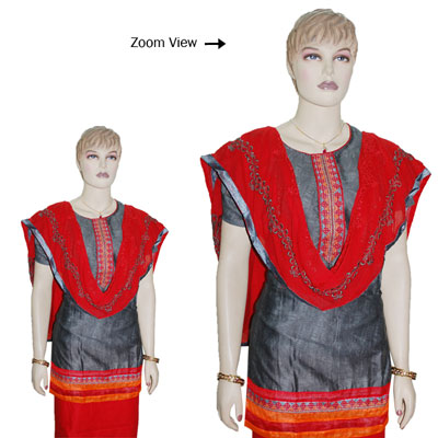 Click here for more on Contrast Grey color Designer Semi Stitched Dress Material - JBT-30