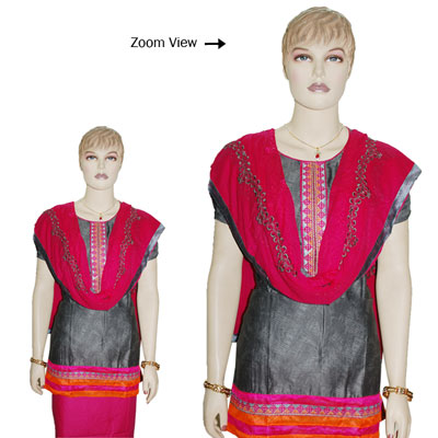Click here for more on Contrast Grey color Designer Semi Stitched Dress Material - JBT-31
