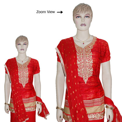 Click here for more on Red color Designer Semi Stitched Dress Material - JBT-34