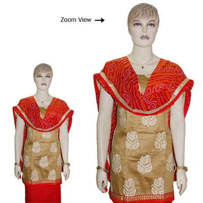 Click here for more on Contrast Brown Designer Dress Material - JBT-37