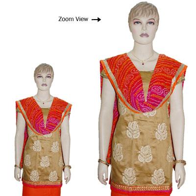 Click here for more on Contrast Brown Designer Dress Material - JBT-38