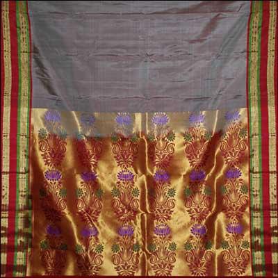 View More(Grey color plain kanjeevaram silk saree RNS-48