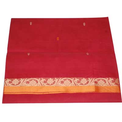 View More(Village Cotton Saree - ChillyRed colour SCV-64 (without Blouse)