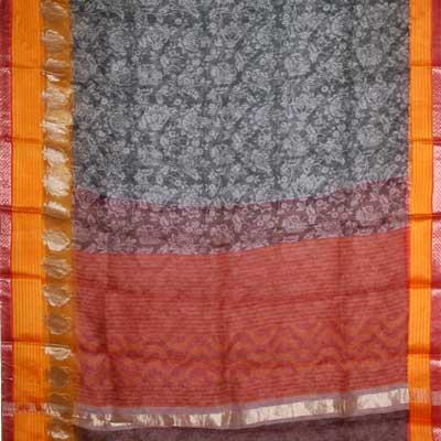 View More(Contrast Blackish Grey printed chanderi silk saree SCV-9