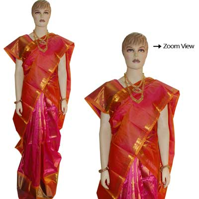 View More(Pink Color Pattu Parikine Ooni set with Blouse SIV-18