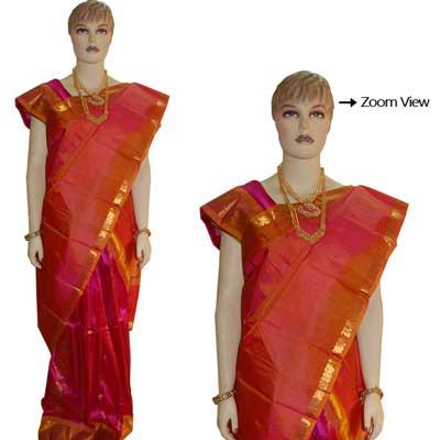View More(Pink Color Pattu Parikine Vooni set with Blouse SIV-13