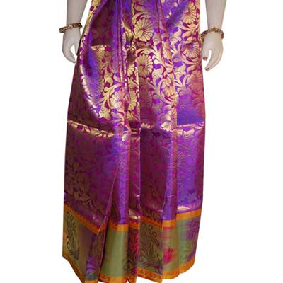 View More(Magenta color Pattu Parikine with Blouse SIR-26 (unstitched)