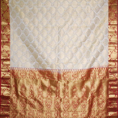 Click here for more on Exclusive Kanchipuram halfwhite color saree NSH-23 (with Blouse)