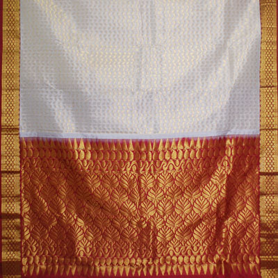Click here for more on Exclusive Kanchipuram halfwhite color saree NSH-24 (with Blouse)