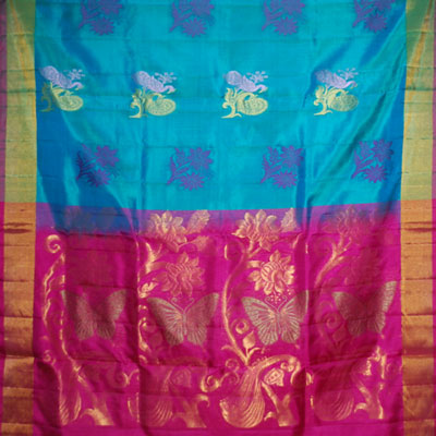 Click here for more on Anandablue Light weight Pattu Saree NSH-56 (with Blouse)