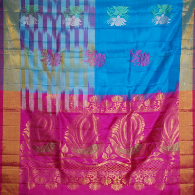 Anandablue color Light weight Pattu Saree NSH-62 (with Blouse)