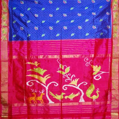View More(Exclusive Pochampally Ikkat Saree - NHM-8 (With Blouse)