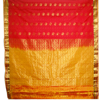 Click here for more on Red with mustard color border Fancy Kanchi Silk Saree- NSR-02