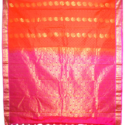 Click here for more on Orange with pink colour border Fancy Kanchi Silk Saree- NSR-05