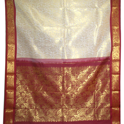 Click here for more on Half white color kanchi fancy silk saree NSR-58(with Blouse)