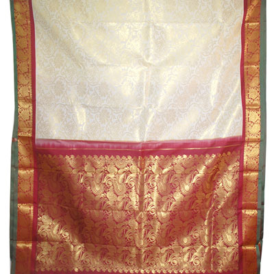 Click here for more on Half white color kanchi fancy silk saree NSR-59(with Blouse)