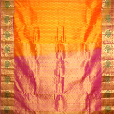 Click here for more on Golden yellow colour kanjeevaram fancy silk saree NSM-14(with Blouse)