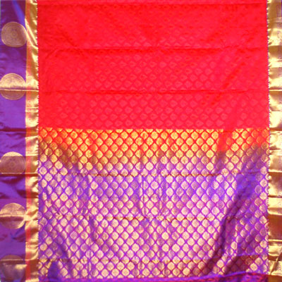 Click here for more on Red color kanjeevaram fancy silk saree NSM-29 (with Blouse)