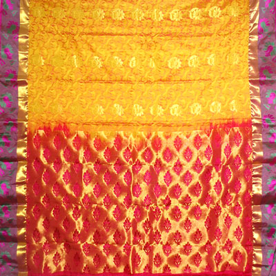 Click here for more on Goldenyellow color kanchi fancy silk saree NSM-35 (with Blouse)