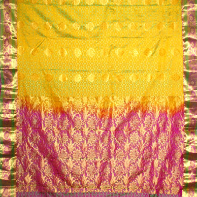 Click here for more on Light yellow color kanchi fancy silk saree NSM-56 (with Blouse)