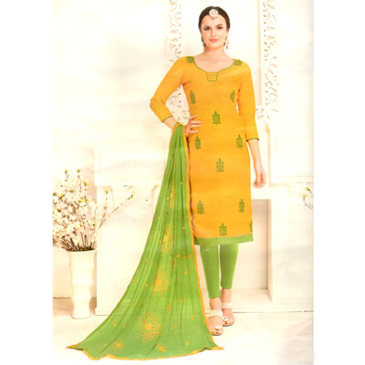 Click here for more on Mustard and lightgreen combination cotton Dress Material - SWS-27