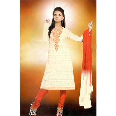 Click here for more on HalfWhite and Red combination cotton Dress Material - SWS-24