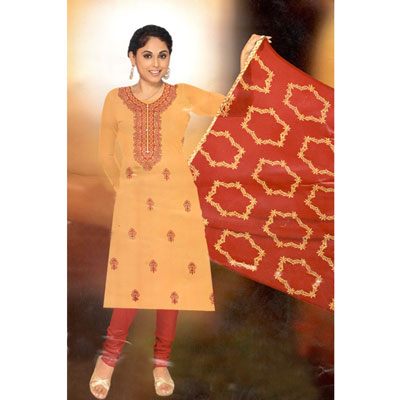 Click here for more on Cream and Red combination cotton Dress Material - SWS-23