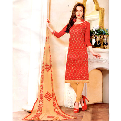 Click here for more on Contrast Red with cream color Dress Material - SWS-16