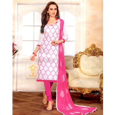 Click here for more on White N pink combination cotton Dress Material - SWS-15